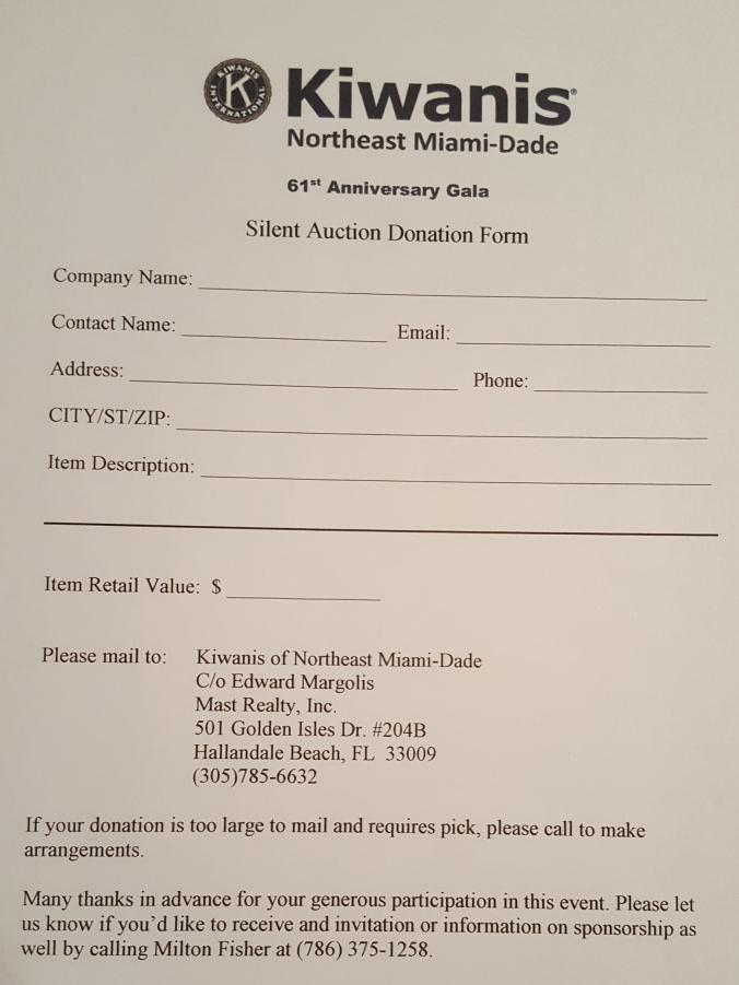 Kiwanis SI Donation Form